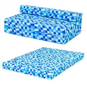 blue pixels design double foam fold out z bed sofa guest mattress sleepover