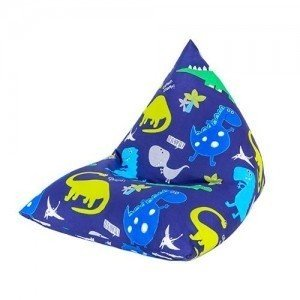 Dino in the Dark Print Pyramid Shaped Fun Children's Filled Bean Bag Lounger chair