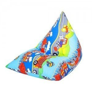 Transport Print Pyramid Shaped Fun Children's Filled Bean Bag Lounger chair