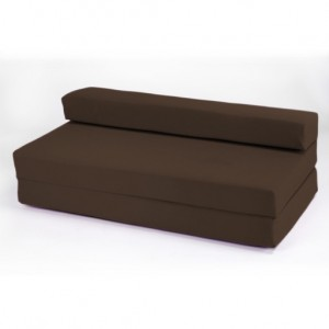 Double 2 Seater 100% Cotton Twill Fold-Out Zbed Futon Mattress, Chocolate