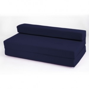 Double 2 Seater 100% Cotton Twill Fold-Out Zbed Futon Mattress, Navy Blue