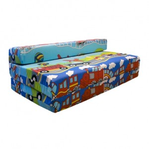 Transport Printed Childrens Double Z Bed Mattress