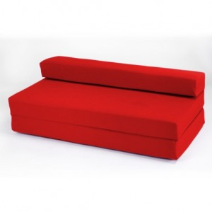 Double 2 Seater 100% Cotton Twill Fold-Out Zbed Futon Mattress, Red
