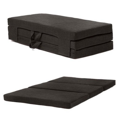 Double Black 4ft Wide Portable Folding Mattress With Carry