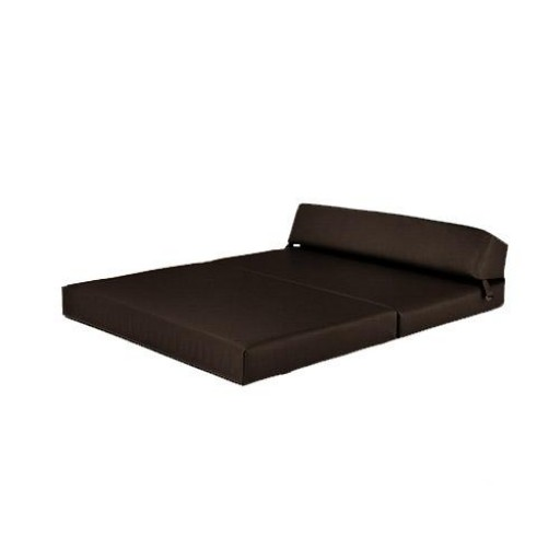 Brown Faux Leather Double Fold Out Foam Z Bed Guest