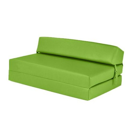 green sofa bed mattress | Lime Green Faux Leather Double Fold Out Foam Z Bed Guest ...
