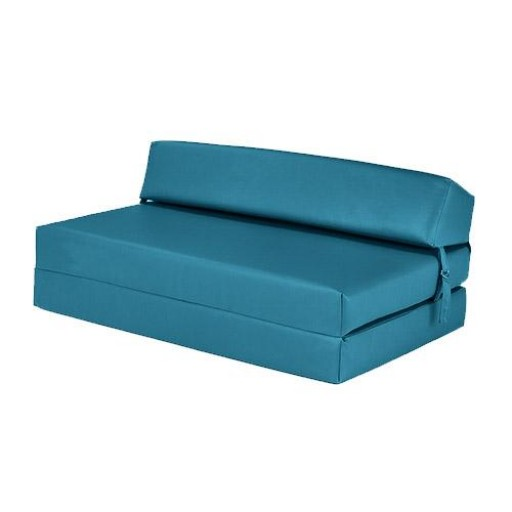 Turquoise Faux Leather Double Fold Out Foam Z Bed Guest