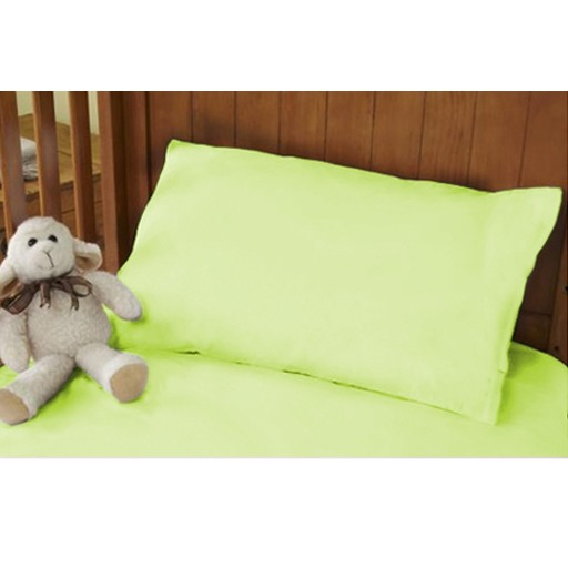 Cotbed Pastel Green Pillowcase And Hollowfibre Pillow Set
