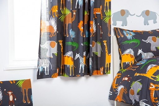 "Africa Design Children's 66"" x 54"" Curtain Pair with Tie Backs"